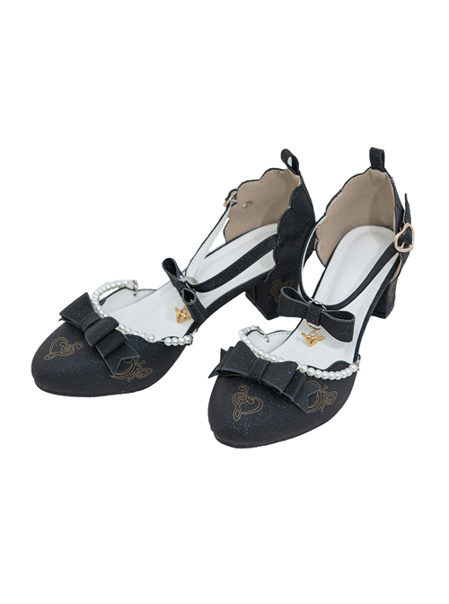 Tea Party Style Pearl Chain Bowknot Classic Lolita Middle Heels Shoes