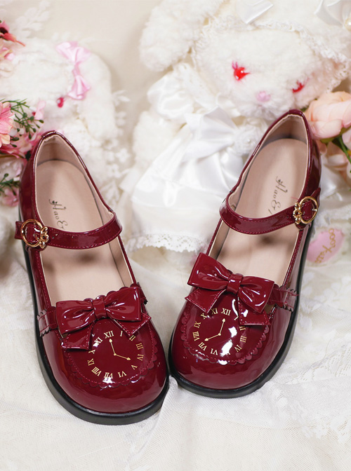 The Small Clock Series Round-toe Bowknot Sweet Lolita Patent Leather Flat Shoes