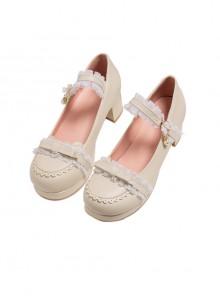 Princess Lace Edge Classic Lolita Thick Heel High Heels Shoes