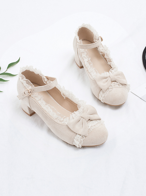 Suede Leather Round-toe Bowknot Lace Thick Heel Classic Lolita High Heel Shoes