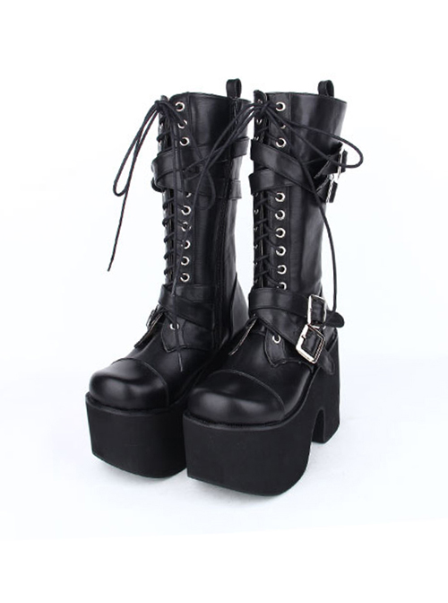 Black Round-toe Patent Leather Straps Buckles Gothic Lolita High Heel Boots