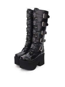 High Boots Embroidered Cross Super High Heel Punk Gothic Lolita Boots