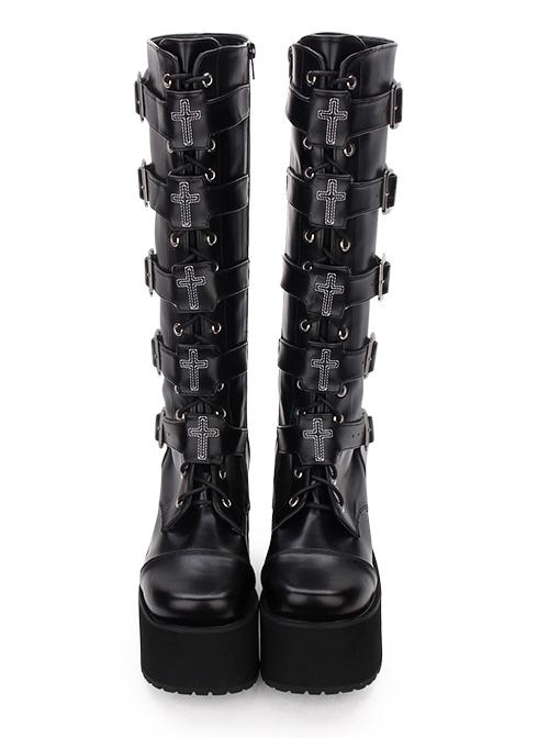 High Boots Embroidered Cross Super High Heel Punk Gothic Lolita Boots