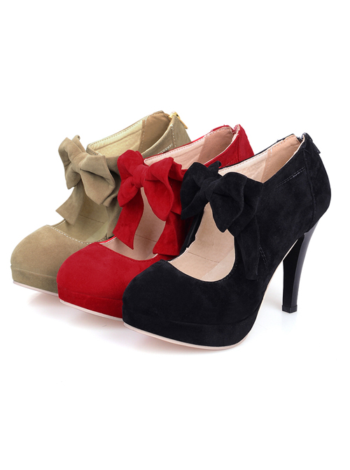 Elegant Pure Color Bowknot Round-toe Sweet Lolita High Heel Shoes