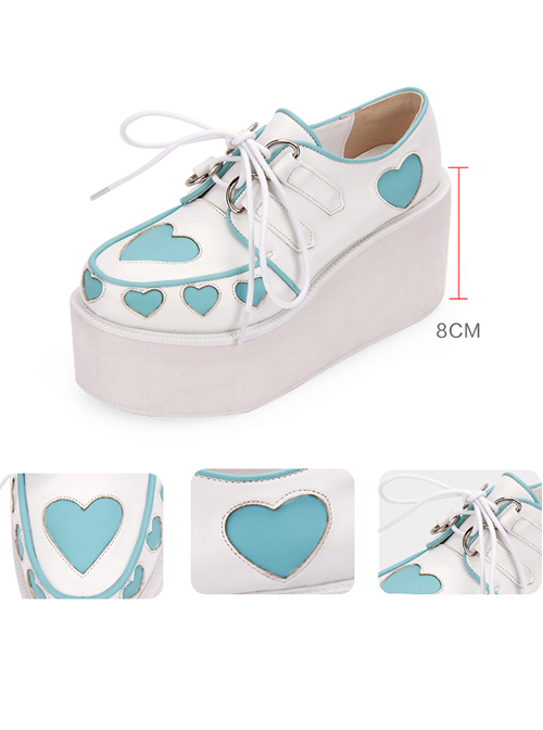 Pink And Blue Cute Heart Pattern Sweet Lolita Lace-up Platform Shoes
