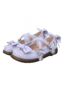 Laser PU Leather Sweet Lolita Bowknot Round-toe Flat Shoes
