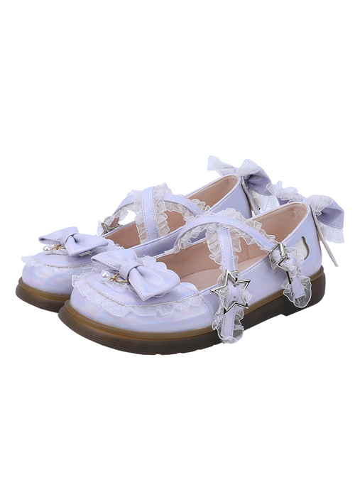 Laser PU Leather Sweet Lolita Bowknot Round-toe Flat Shoes