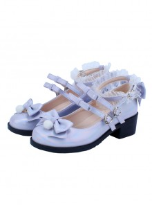 Multicolour Laser Sweet Lolita Middle Heel Shoes