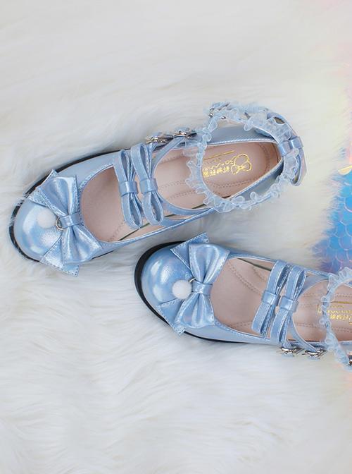 Multicolour Laser Sweet Lolita Middle Heel Shoes