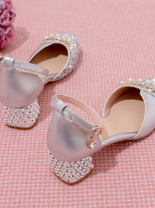Round-toe Sequins Thick Heel Sandals Classic Lolita High Heel Shoes