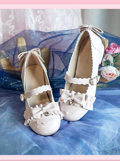 Bowknot Patent Leather Sweet Lolita Low Heel Shoes