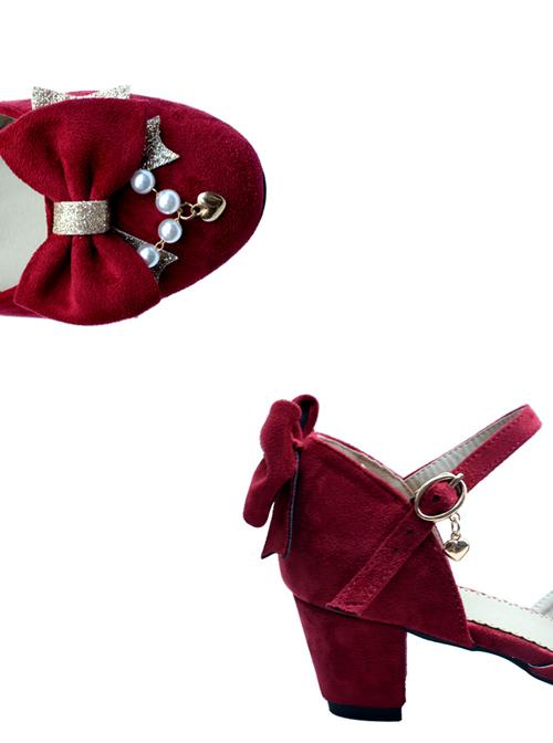 Suede Fabric Elegant Bowknot Classic Lolita High Heel Shoes