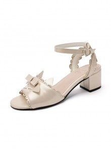 Pearlescent Cat Ears Bowknot Sweet Lolita Middle Heel Sandals