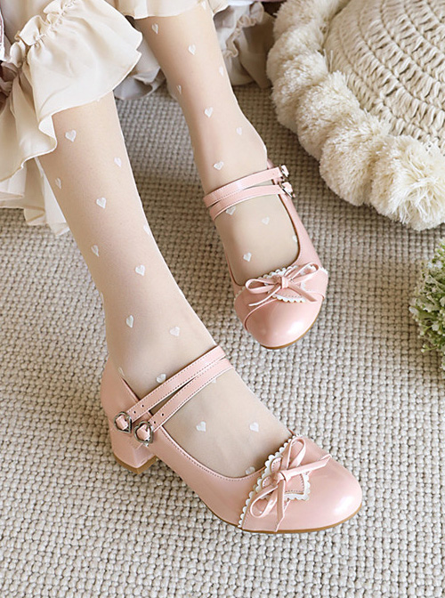 Concise Bowknot Patent Leather Sweet Lolita Thick Heel Shoes