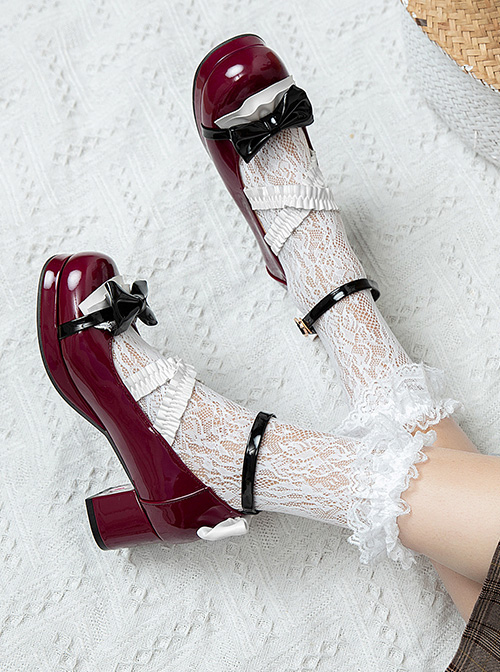 Retro Patent Leather Bowknot Sweet Lolita Shoes