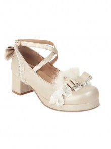 Bowknot Cute Plush Sweet Lolita Thick Heel Shoes