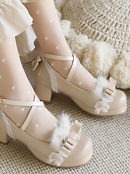 Bowknot Cute Plush Sweet Lolita Thick Heel Shoes