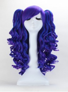 Lolita blue and purple Japanese pick long curly anime