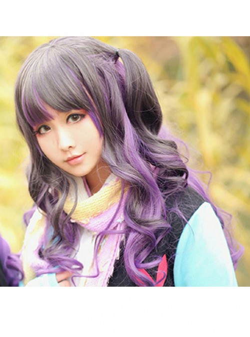 Couple Harajuku wind black gray gradient purple lolita temperament long curly wig