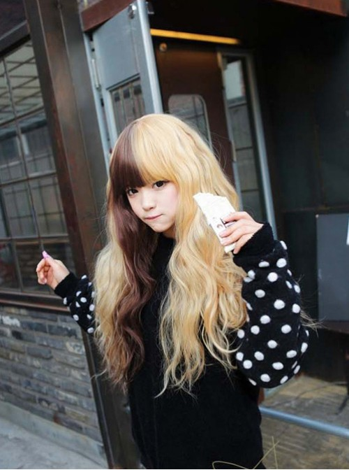Cosplay two-color stitching Lolita corn hot wig