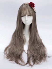Granny Gray Air Bangs Long Curly Hair Classic Lolita Wig