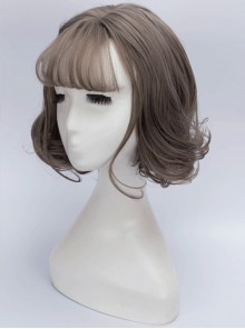 Granny Gray Air Bangs Short Curly Hair Lolita Wig