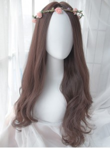 Dark Brown Centre Parting Long Curly Hair Lolita Wig