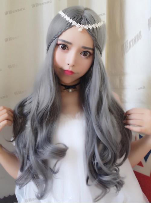 Granny Grey Centre Parting Long Curly Hair Lolita Wig