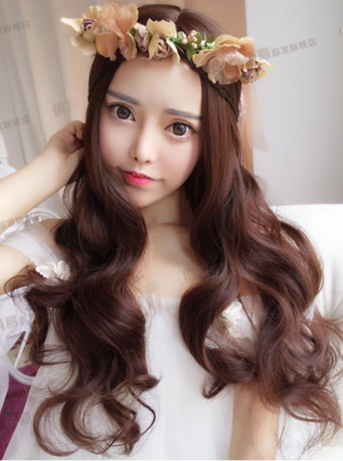 Chocolate Centre Parting Long Curly Hair Lolita Wig