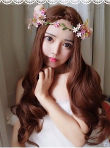 Light Brown Centre Parting Long Curly Hair Lolita Wig