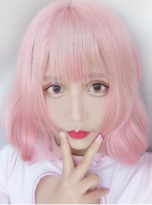 Harajuku Style Light Pink Air Bangs Short Curly Hair Lolita Wig