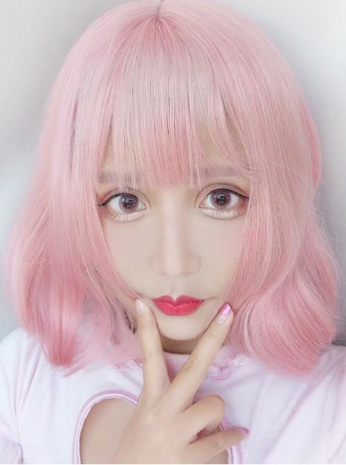 Harajuku Style Light Pink Air Bangs Short Curly Hair Lolita Wig