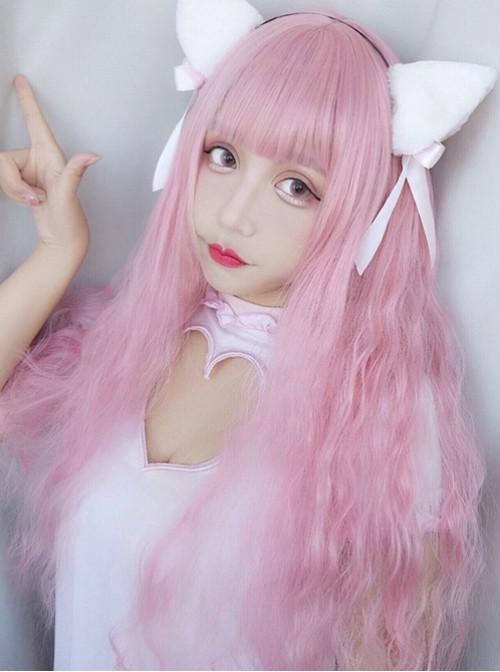 Harajuku Style Light Pink Long Curly Hair Lolita Wig