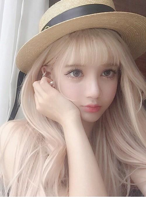 Pale Gold Air Bangs Long Curly Hair Lolita Wig