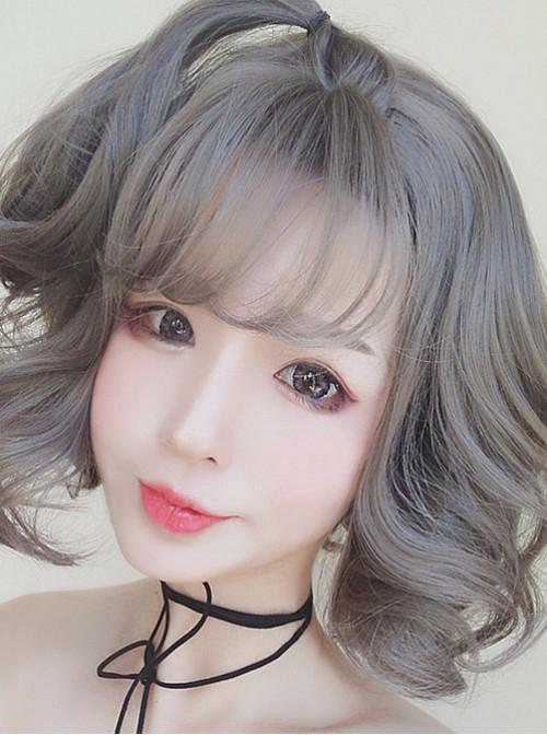 Granny Grey Small Waves Repair Face Short Curly Hair Harajuku Style Lolita Wig