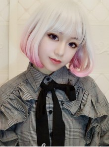 Short Curly Hair Silver Pink Gradient Lolita Wig