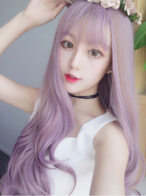 Air Bangs Long Taro Purple Curly Hair Lolita Wig