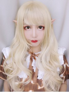 Elves Girls Long Curly Hair Lolita Pale Gold Wig