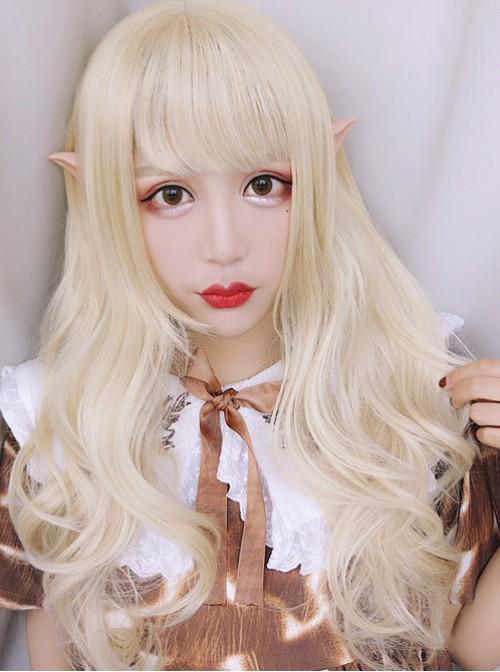 Elves Girls Long Curly Hair Lolita Pale Gold Wig
