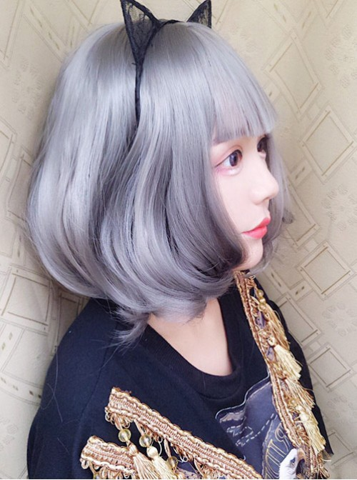 Harajuku Style Large Wavy Short Curly Hair Granny Grey Lolita Wig