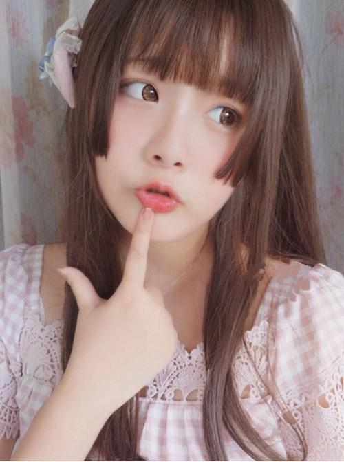 Hime Cut Long Straight Hair Dark Brown Lolita Wig