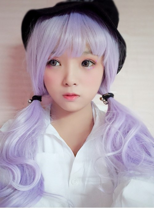 Lovly Fluffy And Large Wave Gray-purple Long Curly Hair Lolita Wig