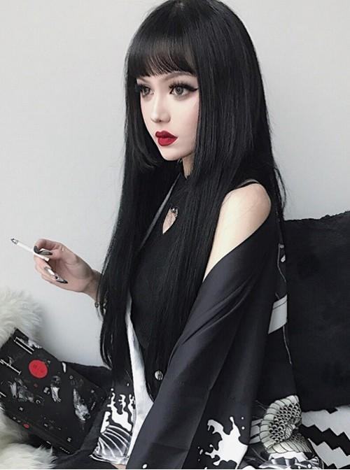 Long Straight Hair Natural Black Lolita Wig