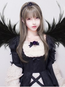 Long Straight Hair Harajuku Style Granny Grey Inner Buckle Lolita Wig