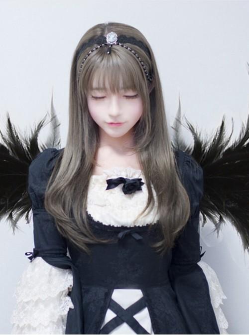 Long Straight Hair Harajuku Style Granny Grey Inner Buckle Lolita Wig