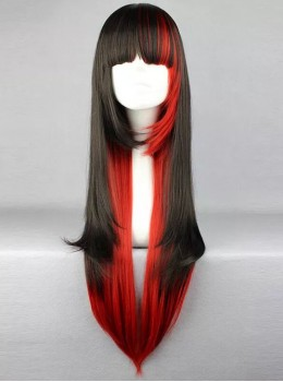 Black and Red Mixed Color Long Straight Hair Cosplay Lolita Wig