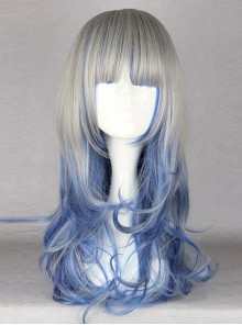 Blue And Gray Mixed Color Harajuku Style Anime Lolita And Cosplay Wig