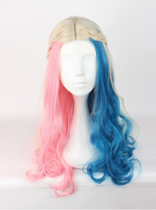 Suicide Squad Harleen Quinzel Long Curly Centre Parting Hair Cosplay Lolita Wig