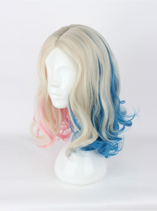 Suicide Squad Harleen Quinzel Short Curly Centre Parting Hair Cosplay Wig