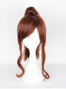 Sailor Moon Ponytail Brown Long Curly Cosplay Wig